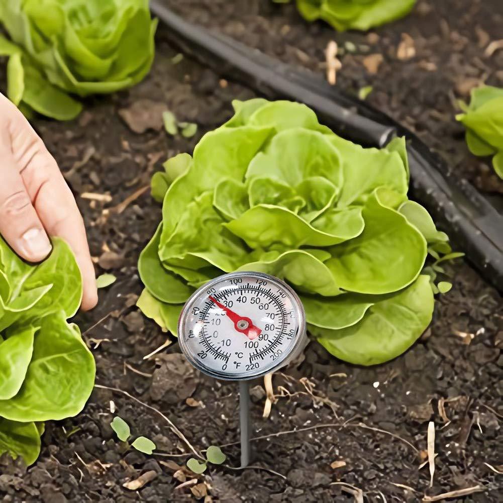 housesweet Edelstahl Bodenthermometer Keine Batterie erforderlich 127 mm Stammtemperatur 0-100 /° C Bereich f/ür gemahlene Gartenkompostk/üche