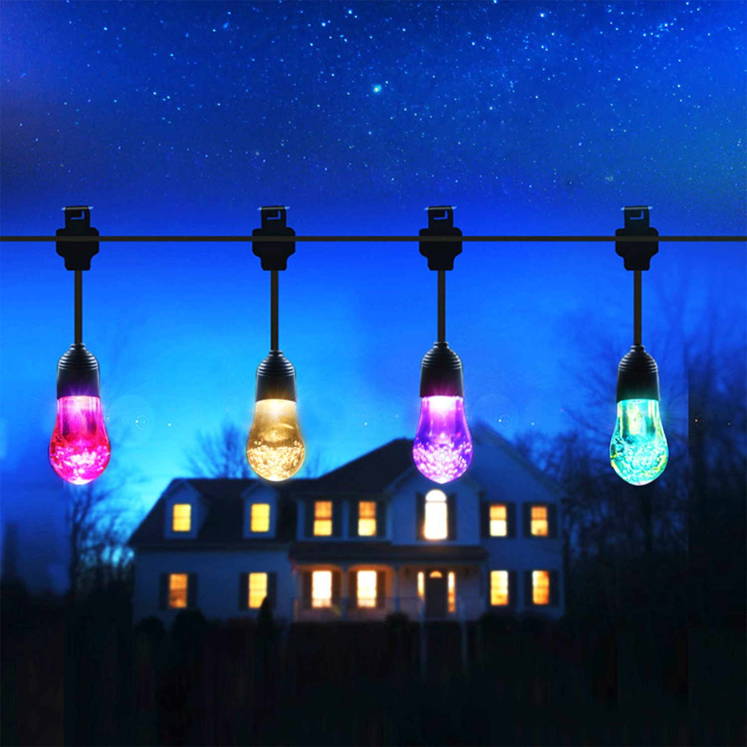 Mthinkor Solar String Light Waterproof 12 Crystal Balls Solar Powered Fairy Lighting for Garden, Patio, Yard, Home, Parties, Warm White/Multiple Color by Mthinkor