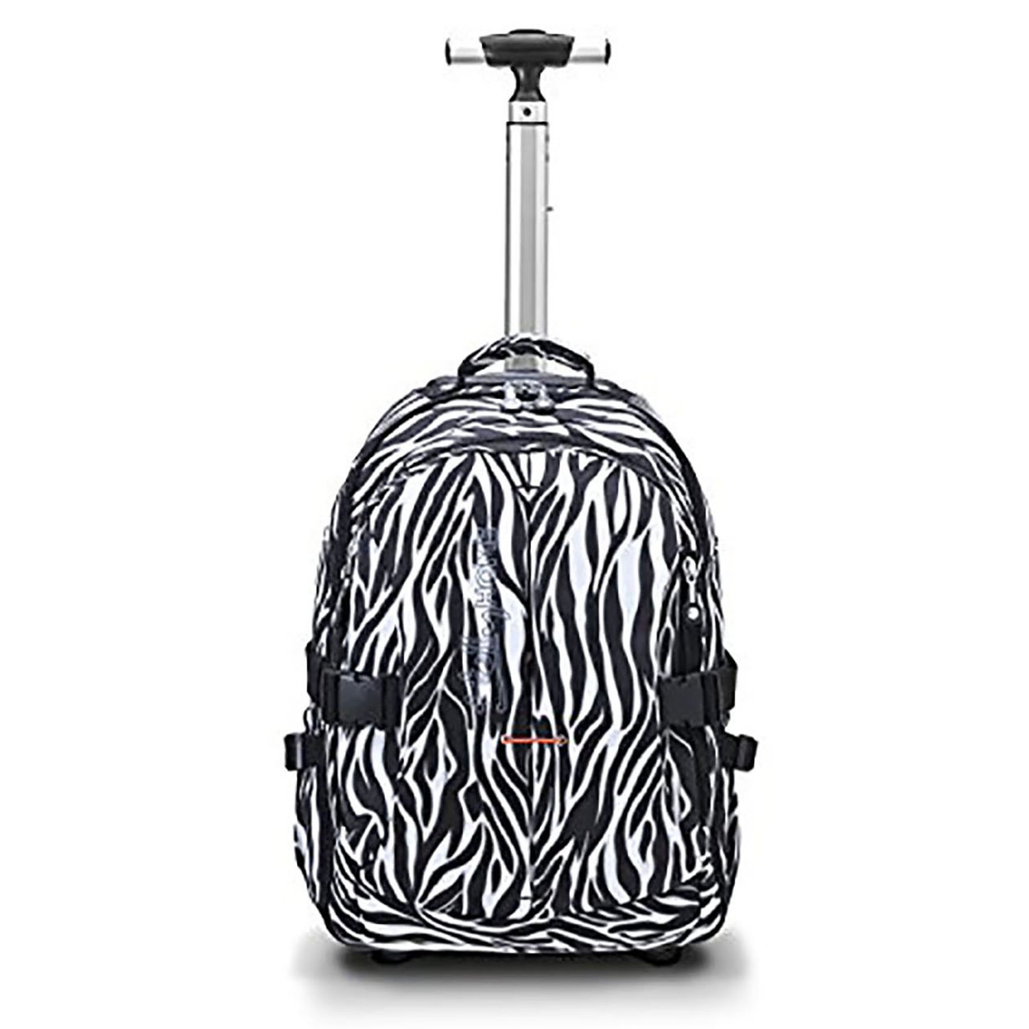 19 inches Multifunction Waterproof Wheeled Rolling Laptop Backpack for Girls and Boys School Books Bag by HollyHOME, Zebra Prints