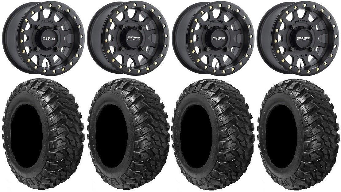 Bundle - 9 Items: Method 401 14'' Beadlock Black (5+2) Wheels 30'' Kanati Mongrel Tires [4x156 Bolt Pattern 12mmx1.5 Lug Kit]