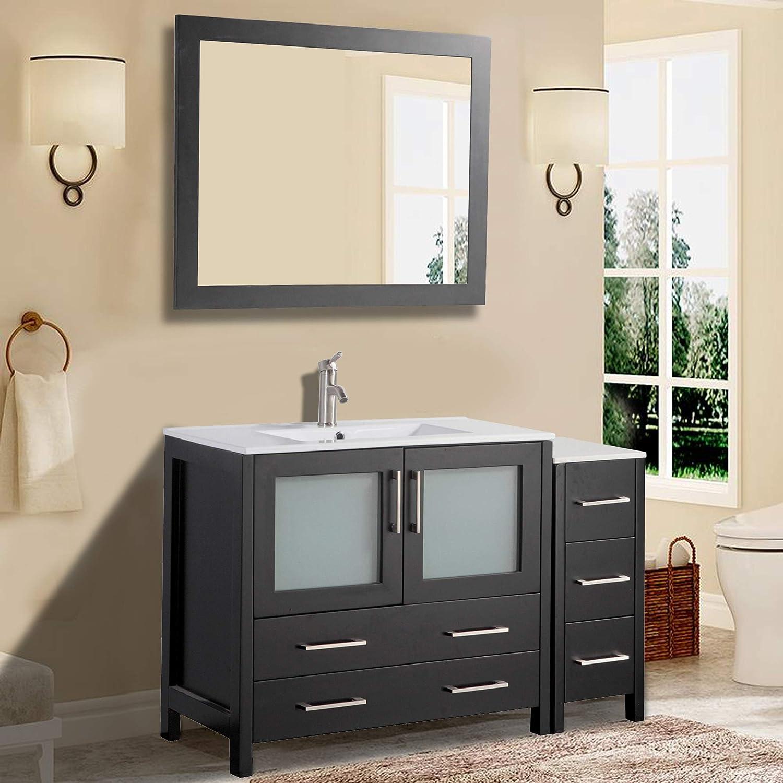 Gray Vanity Art 84 Inch Double Sink Modern Bathroom Vanity Compact Set 2 Shelves 7 Drawers Va3036 84 G Ceramic Top Bathroom Cabinet With Two Free Mirror Kitchen Bath Fixtures Tools