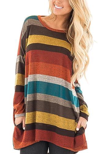 Honeykoko - Camisas - Túnica - Rayas - Cuello redondo - Manga Larga - para mujer
