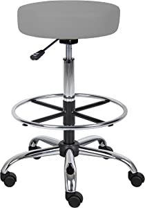 """Boss Office Products B16240-GY Adjustable 16"""" Drafting Stool, Grey"""