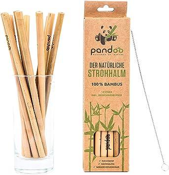 Pandoo Paquete de 12 pajitas 100% de bambú, incluido cepillo de ...