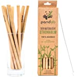 pandoo 12-Pack Straws Made of 100% Bamboo Including Cleaning Brush | Reusable & Environmentally Friendly Drinking Straws | 100% Biodegradable