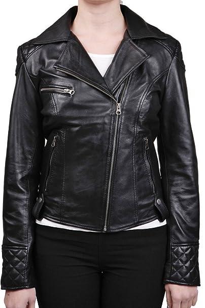 Negro acolchada chaqueta del motorista del cuero de las ...
