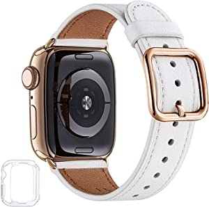 MNBVCXZ Compatible with Apple Watch Band 38mm 40mm 42mm 44mm Women Men Girls Boys Genuine Leather Replacement Strap for iWatch Series 6 5 4 3 2 1 iWatch SE (White/Gold, 38mm 40mm)