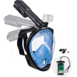 Dekugaa Full Face Snorkel Mask, Adult Snorkeling Mask with Detachable Camera Mount, 180 Degree Panoramic Viewing…