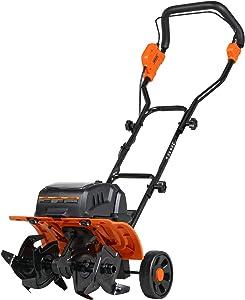 "Tiller Cultivator Rototiller Electric Portable 40V 14"" Inch Tilling Width 4 Premium Steel Adjustable Forward Rotating Tines for Garden & Lawn, Digging, Weed Removal & Soil Cultivation"