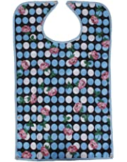Waterproof Adult Eating Bib Clothing Protector Disability Aid Apron - Rose Dots