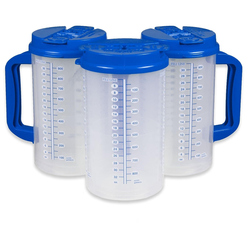 32オンスダブルウォール絶縁病院マグ – Cold Drinkマグ – Largeキャリーハンドル – Includes Straw 32 oz ブルー B0763KHW5M ブルー