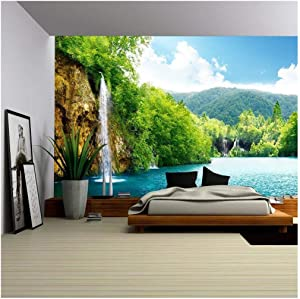wall26 - Waterfall in Deep Forest of Croatia - Removable Wall Mural | Self-Adhesive Large Wallpaper - 66x96 inches