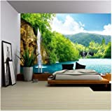 wall26 - Waterfall in Deep Forest of Croatia - Removable Wall Mural   Self-Adhesive Large Wallpaper - 66x96 inches