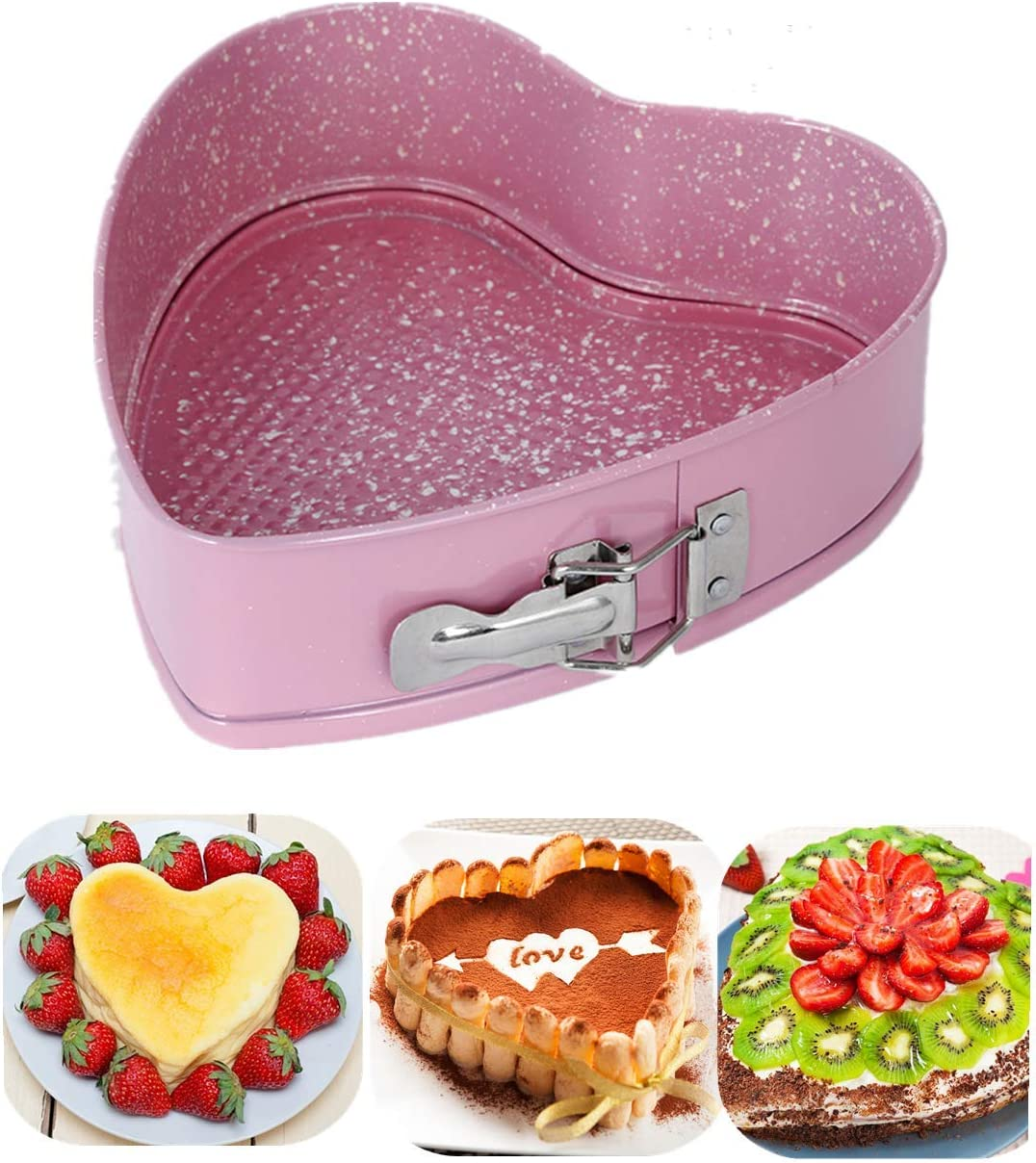 8.5 Pink Heart Springform Cake Pan Nonstick Heart Bakeware Pan Cake Mold for Baker Heart Shape Cheesecake Baking Pan with Removable Bottom