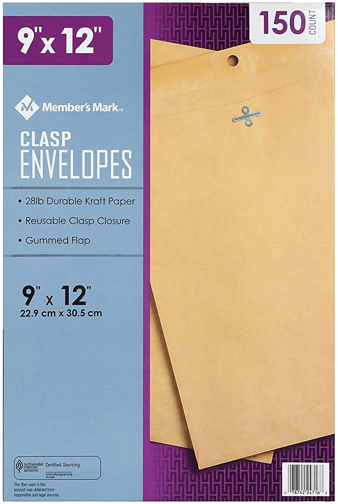 """150 ct. Free Shipping New Member/'s Mark Clasp Envelope 10/"""" x 13/"""""""