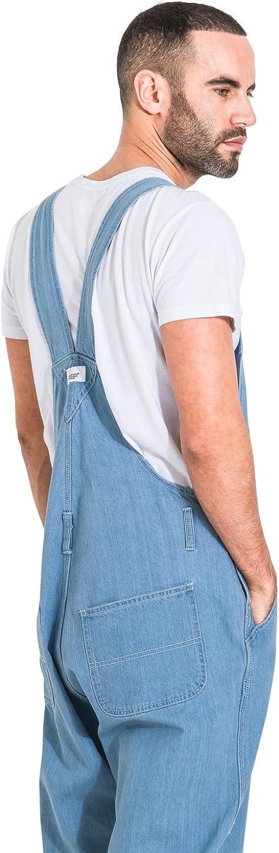 Uskees Mens Palewash Denim Dungaree Shorts Bib-Overall Shorts BLAKEPALE