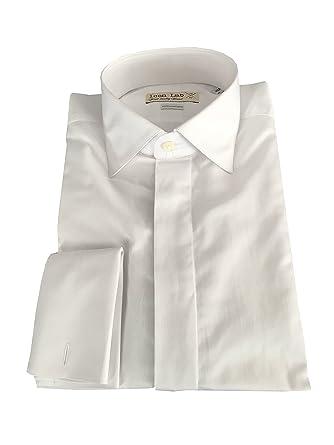 Icon Lab Camicia Uomo con Polso Gemelli Bianca 100% Cotone