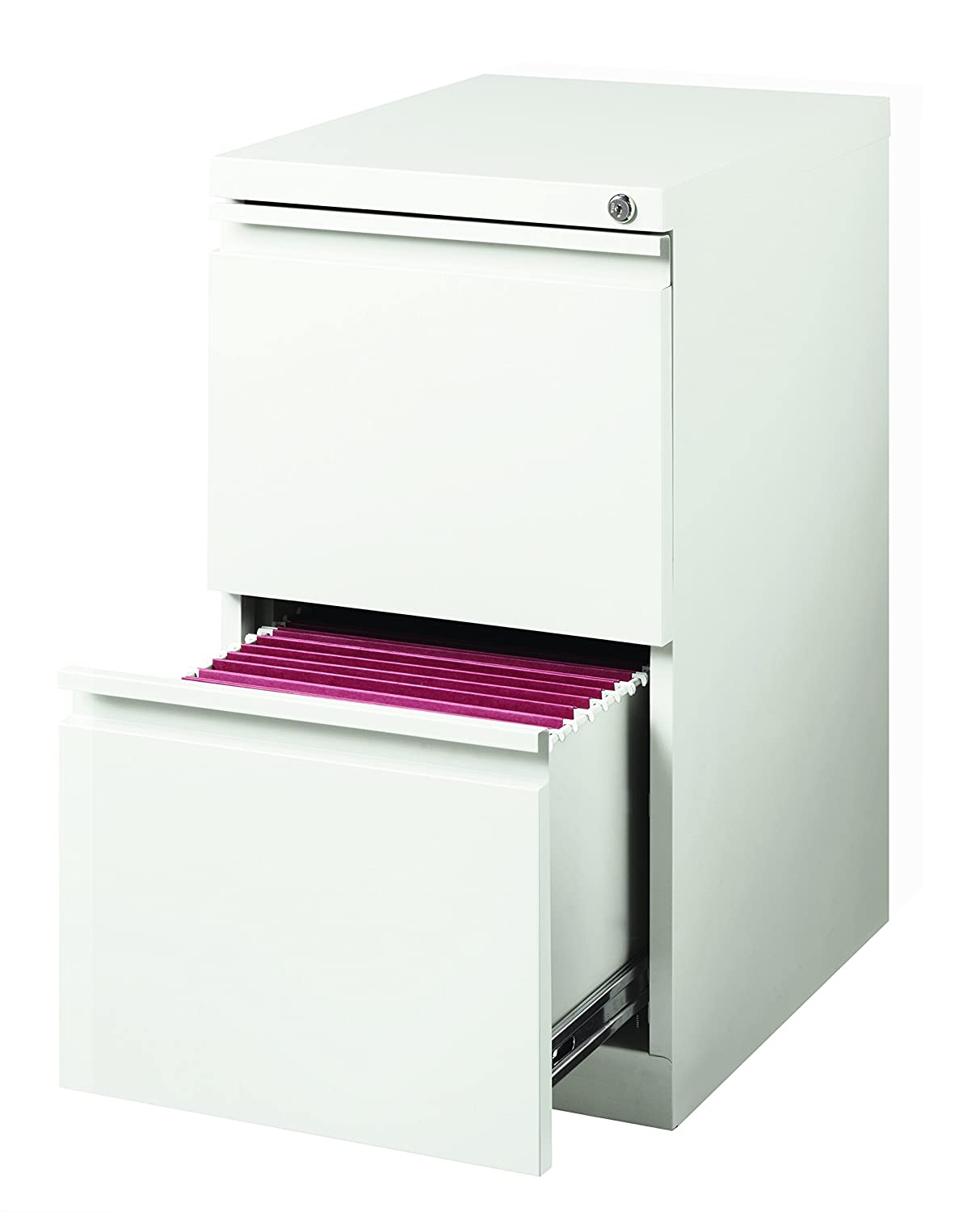 Hirsh 20 in Deep 2 Drawer Mobile File Cabinet in White