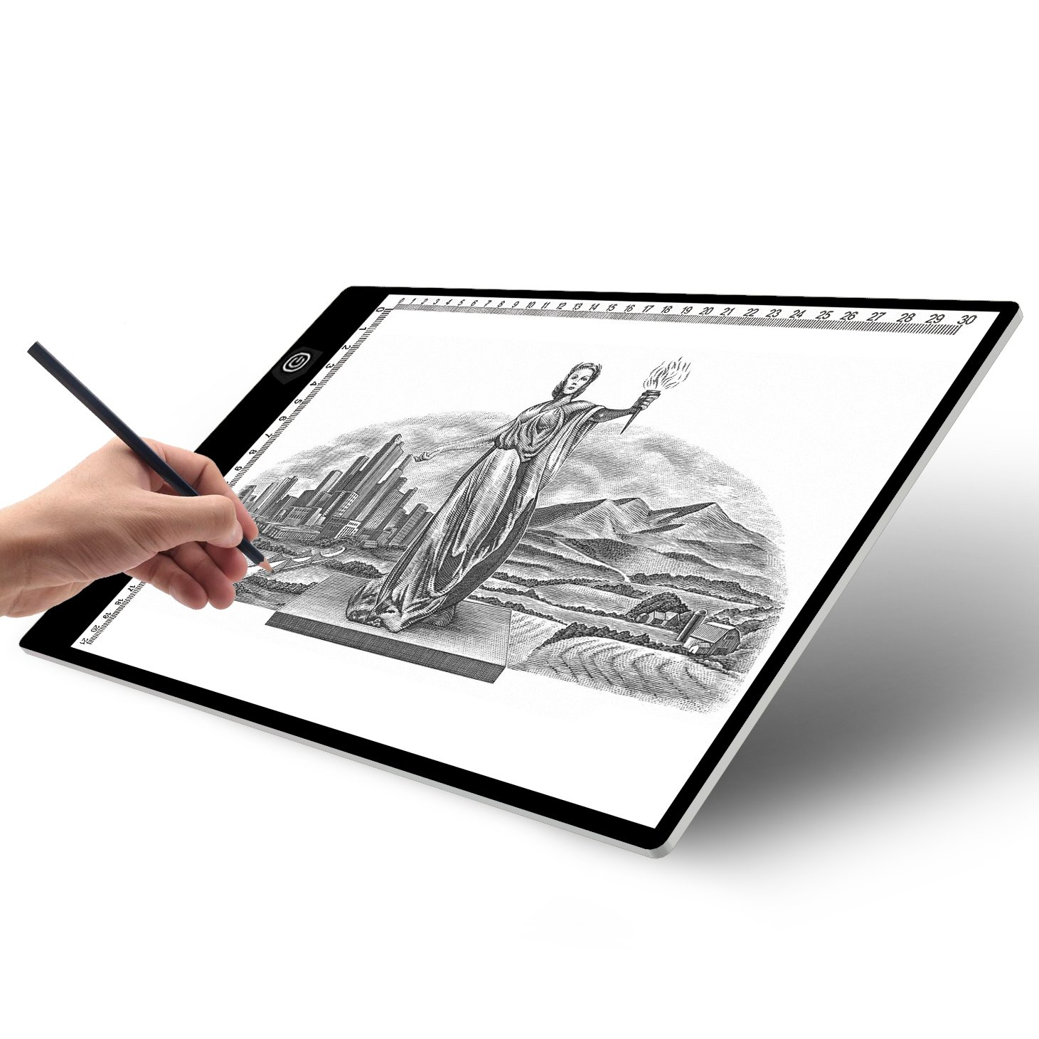 〖Deluxe Version〗A4 Light Box Tracer with Scale |Ultra-Thin USB Powered Portable Dimmable Brightness LED Artcraft Tracing Light Pad | Light Box for Artists Drawing Sketching Animation Designing