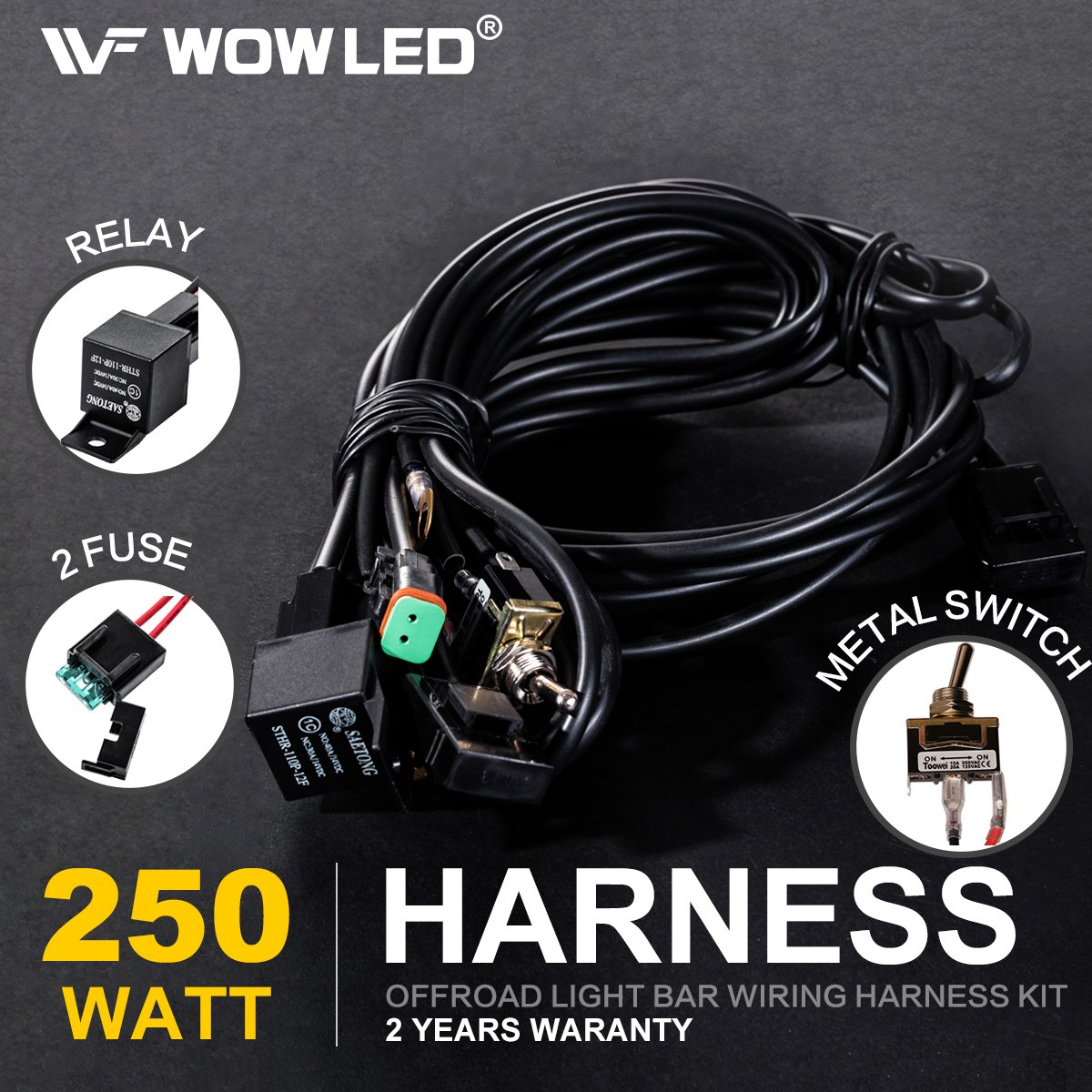 Wowled Premium Wiring Harness Switch Relay Kit For Led Driving Work Mictuning Light Bar Wire Diagram 4wd 40a Car Motorbike