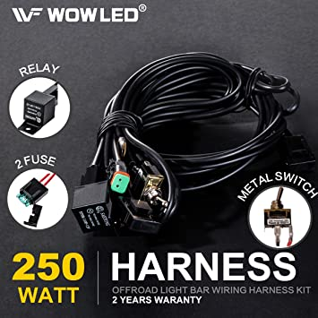 wowled premium wiring harness switch relay kit for led driving work light  bar 4wd 40a
