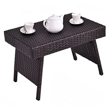 Casart Rattan Wicker Sofa Side Coffee End Table Laptop Desk Patio Storage Shelf Indooroutdoor Furniture Style 1
