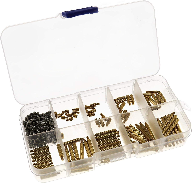 Juego de tornillos de rosca M2 de lat/ón y tuercas de tornillo largo de 270 piezas//juego de espaciadores de PCB macho y hembra