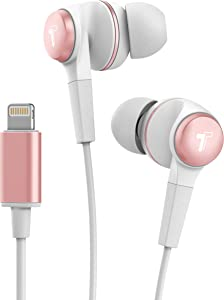 Thore Wired Earphones for iPhone Headphones (in-Ear) Earbuds with Lightning Connector, Mic + Volume Control for iPhone X XR Xs 11 Pro Max iPhone 7 8 Plus (V120 Rose Gold)