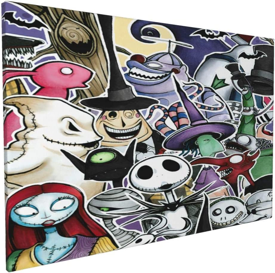 The Nightmare Before Christmas Wall Art Painting Canvas Art for Wall Decor Print Painting Wall Decor and Home Décor for Living Room Decoration Framed and Ready to Hang 16'' X 24''