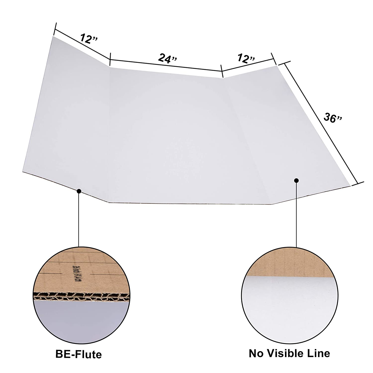 """Pack of 12 36/"""" x 48/"""" Trifold Poster Board; Corrugated Cardboard Panel; Presentation Board for Art Projects and Science Fair Board by JJ Care Heavy Duty"""