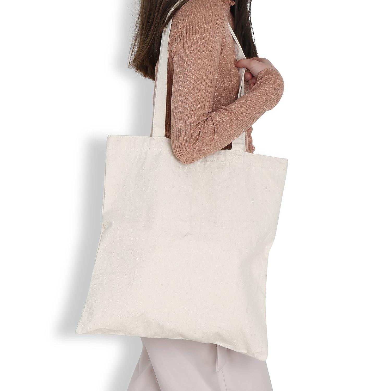 00bd37bdca3 LEMESO Plain 10oz Natural Cotton Canvas Tote Shopper Bag for Women ...