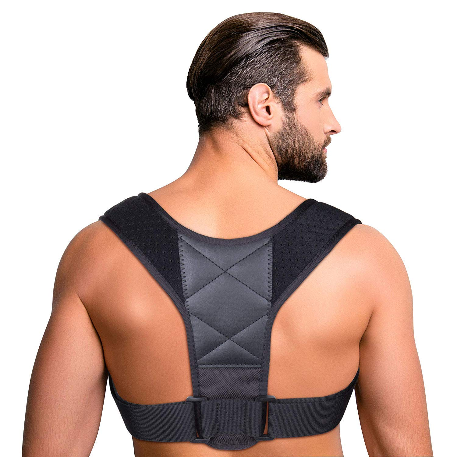Aroamas Posture Corrector for Women & Men, Relieves Upper Back & Shoulders Pain, Corrects Slouching, Hunching & Bad Posture, Clavicle Support Adjustable Brace (Leather) by Aroamas