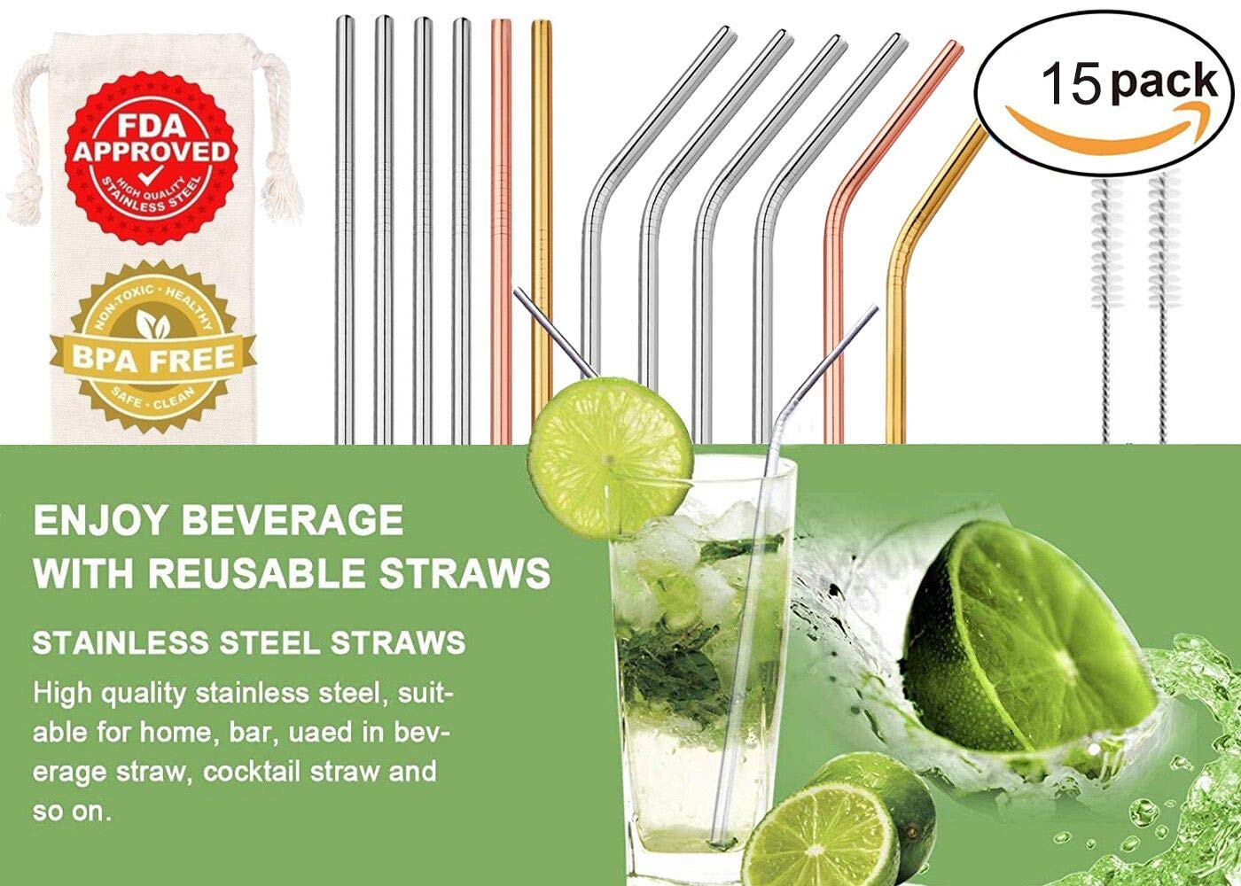 12+3 Pcs Reusable Stainless Steel Straws, 3 Colors Gold, Silver, Rose Gold, Eco-friendly Metal Straws,FDA-Approved Straws (Set of 15,6 Bent+6 Straight + 2 Brushes+1 Carry Bag)