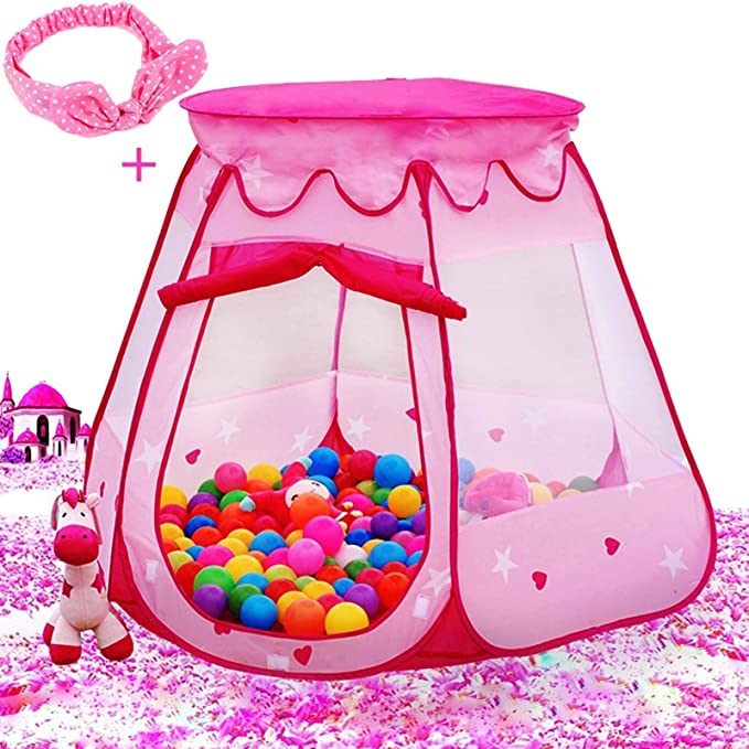 Pink Starry Pop Up Fun Play Tent Playhouse For Girls Kids Baby Children Ball Pit