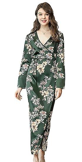 plus récent 3818b 542ad Vlunt Col V Kimono Élégant pour Femme, Maxi Robes de Chambre ...