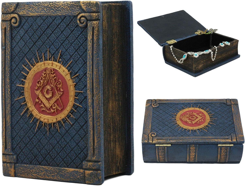 Ebros Small Masonic Secret Book Box Freemasonry Square and Compasses Ritual Morality Blue Small Hinged Book Jewelry Box Freemasons Storage Decor
