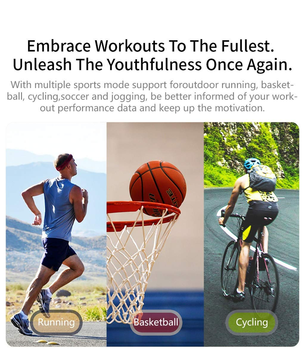 For iOS Android, Waterproof Sport Smart Watch Fitness Activity Blood Pressure Heart Rate Sleep Monitoring Smart Bracelet (A) by YNAA (Image #4)