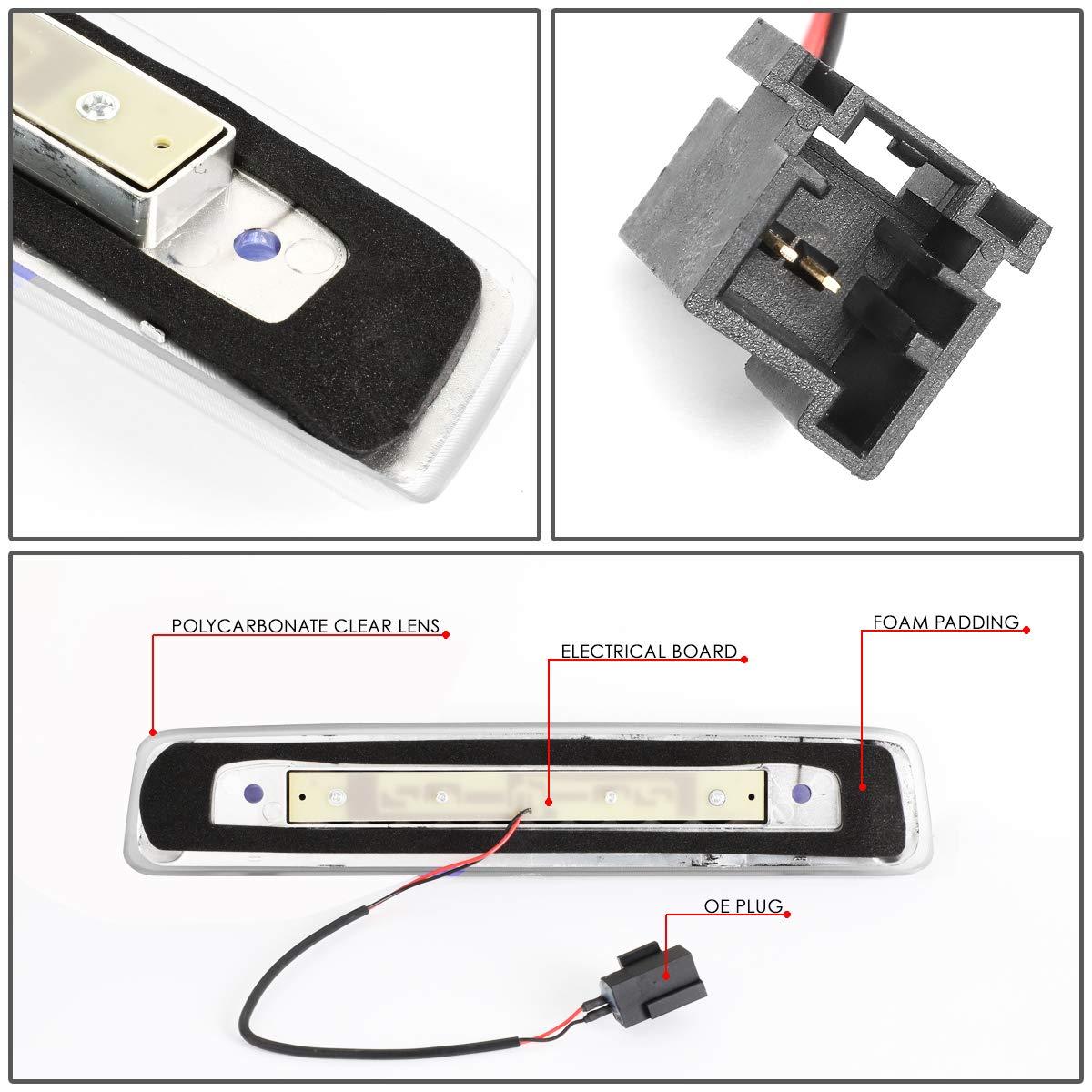 DNA Motoring 3BL-JCOM06-LED-CH Rear Center Full LED 3rd Third Brake Light//Lamp