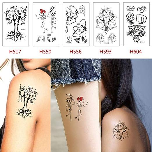 adgkitb 2pcs Tatuaje Temporal del Tatuaje del Cuerpo de Halloween ...