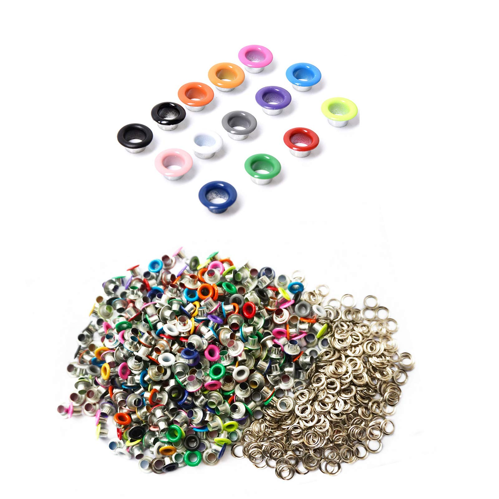 Honkoolly 420 Set 3mm Metal Eyelets Mixed Colors Round Eyelet Grommets for Scrapbooking Card Making Leather Craft Shoes Clothes Paper Craf,30 Set/Colors,14 Colors
