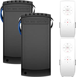 2 Pack Universal Ceiling Fan Remote Control Kits, Wireless Remote and Receiver Kits for Harbor Breeze Hunter Honeywell Hampton Bay Kichler Ceiling Fan lights, Fan Speeds Lamp ON/OFF and Timing Control