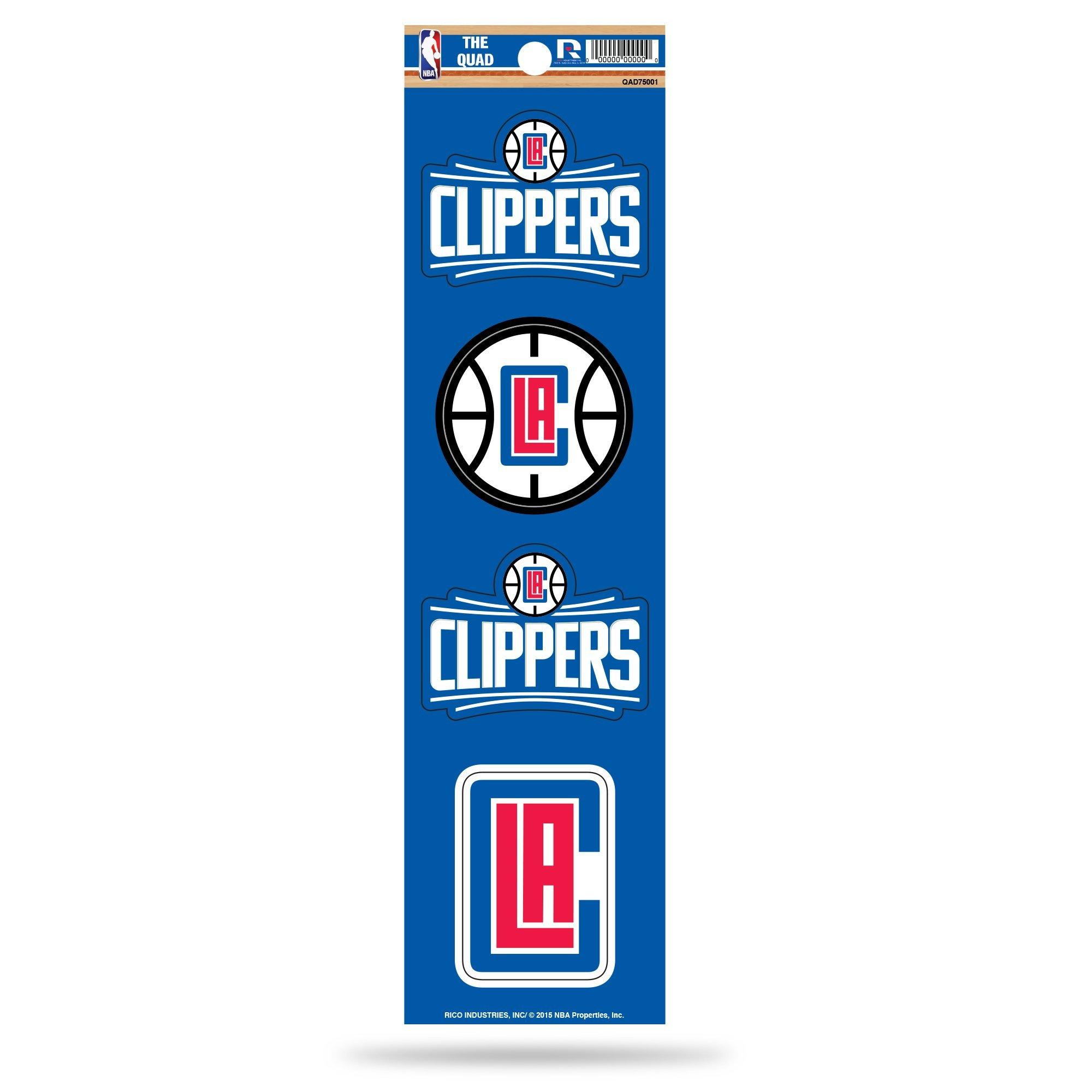Rico NBA Los Angeles Clippers Die Cut 4-Piece The Quad Sticker Sheet