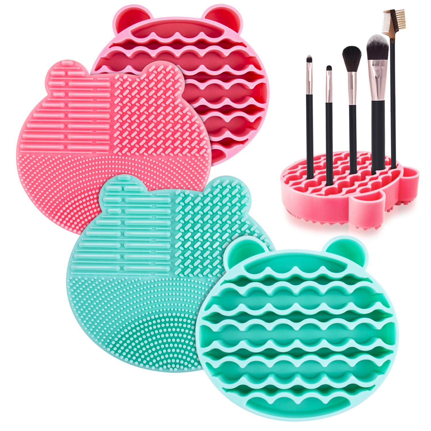2 Pack Omew Makeup Brush Cleaner Mat, 2 in 1 Silicone Brush Cleaner Dryer Tray Brushes Drying Rack Holder Travel Portable Cosmetic Brush Scrubber Pad Cleaning Washing Tool