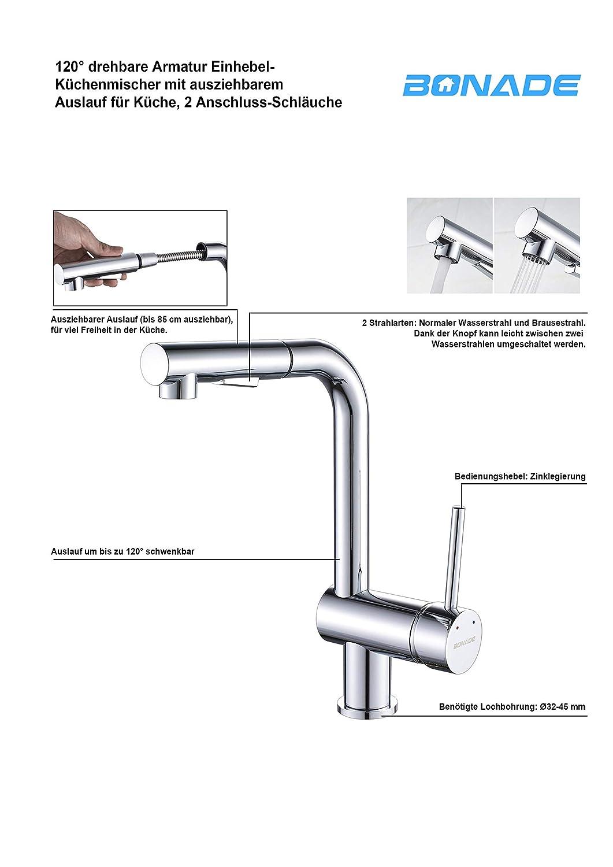 Wasserhahn Hochdruck Armatur Einhebelmischer Spültischarmatur Schwenkarm Küche