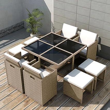 Tidyard Conjunto Muebles de Jardín de Ratán 21 Piezas con Taburetes Sofa Jardin Exterior Sofas Exterior Ratan Conjunto Jardin para Jardín Terraza ...