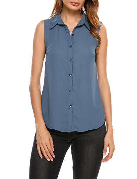 1230d8d27fddad Image Unavailable. Image not available for. Color  Meaneor Women s  Sleeveless Lightweight Silk Button Down Shirt Blouse