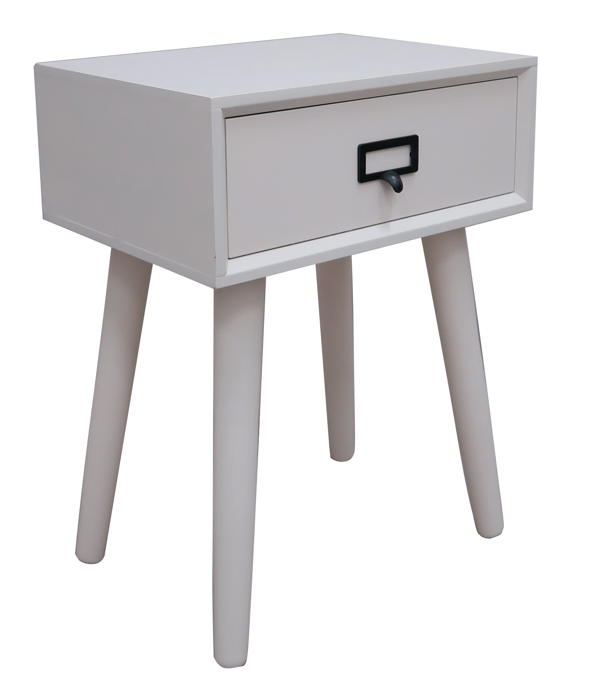 "Urbanest Hartford One Drawer Side Table, Cream - Urbanest wood side table with one drawer in a cream finish. Measurements: 15 3/4"" long, 12"" wide, and 21"" tall. Solid wood with a wood veneer top. Hand applied cream finish. Handle is metal. - living-room-furniture, living-room, end-tables - 71gcDewSMcL -"