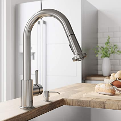 ddf82ad46311 VIGO VG02002ST Harrison Commercial 15 Inch Single Handle Brass Kitchen  Faucet with Pull-Down Sprayer and ...