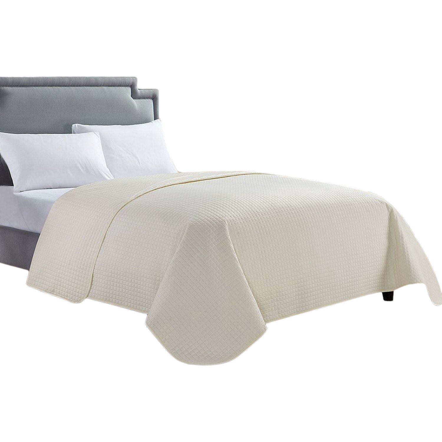 HollyHOME Luxury Checkered Super Soft Solid Single Pinsonic Quilted Bed Quilt Bedspread Bed Cover, Ivory, Full/Queen