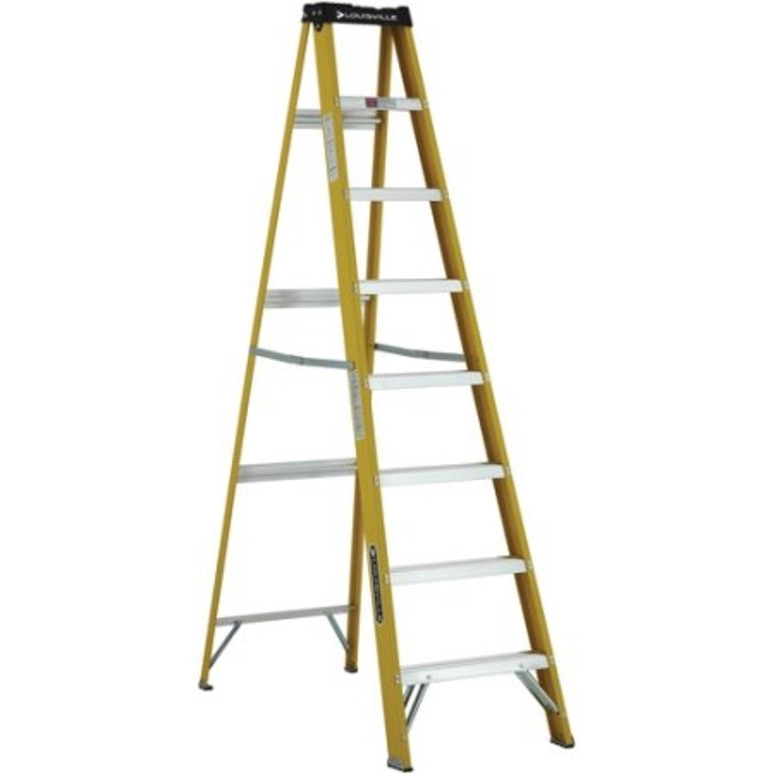 Non Conductive Fiberglass Slip Resistant Aluminum Steps Ladder